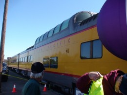 The vista dome car is part of the traveling exhibit.