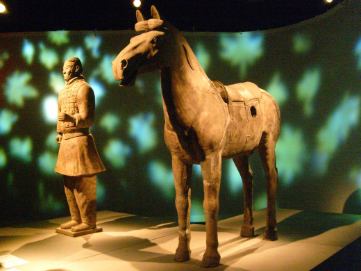 A cavalry soldier and his horse
