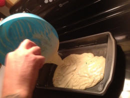Pour batter into greased baking pan