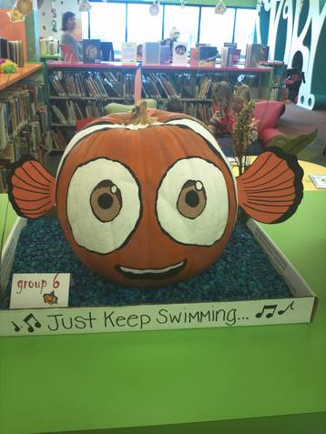 This Nemo pumpkin is a 2012 entry in the Keller Public Library pumpkin decorating contest.