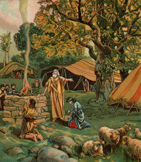 Abram Called To Be a Blessing, as in Genesis 12:1-8, illustration from a Bible card published 1906 by the Providence Lithograph Company.