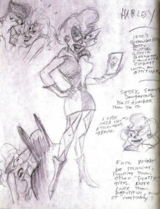 "Early Harly Quinn Sketch from the book ""Batman: Animated"""
