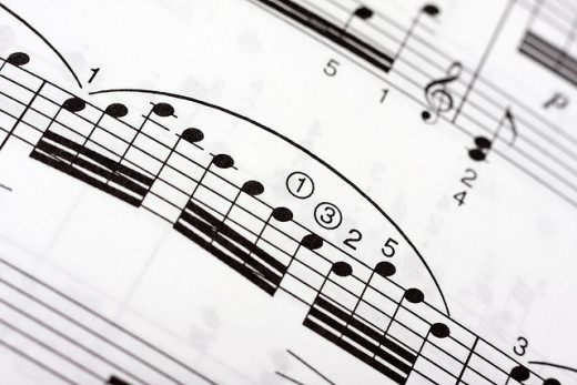 Fast musical notes on a music sheet.