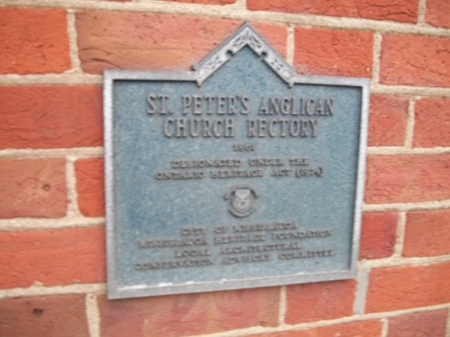 Historical plaque, former St Peter's Rectory, Erindale, Mississauga
