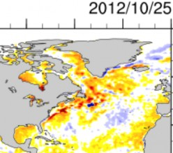East coast sea surface temperatures compared to normal; October 25, 2012.  Image courtesy ESRL, crop by author.