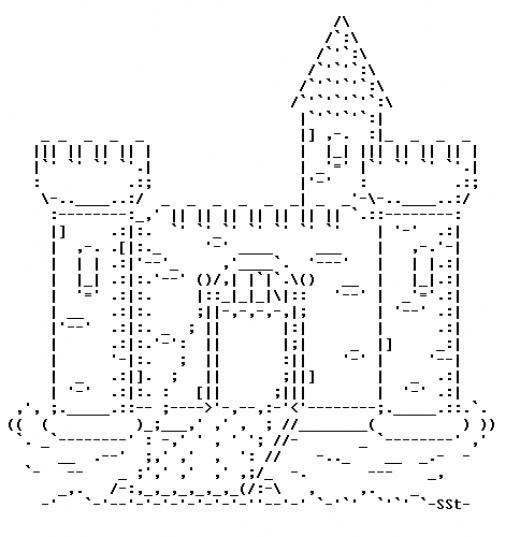 One Line Ascii Art Shark : Castles in ascii text art