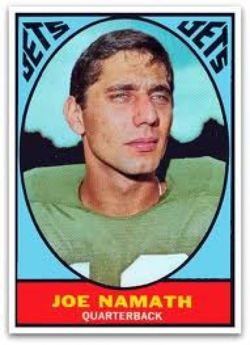 Joe Namath seen on this football card won the Super Bowl with the New York Jets. He talked a big game but backed it up on the field.