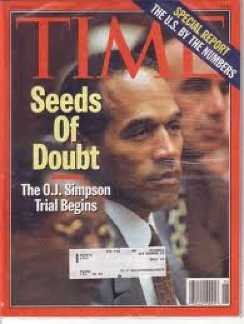 O.j. Simpson, seen on the cover of Time magazine, goes To Trial For the murder of his wife.