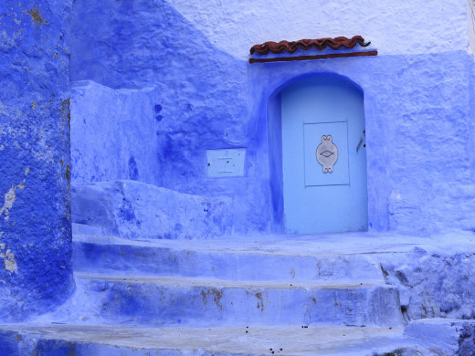 Blue door in Chefchaouen, Morocco. Chefchaouen is noted for its buildings in shades of blue.
