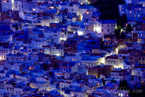 Night falls over the blue town of Chefchaouen in the Rif Mountains.