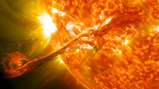 A coronal mass ejection. Physics is the study of the laws of the universe - from tiny subatomic particles, to the sun and other stars, right up to the universe and...beyond?