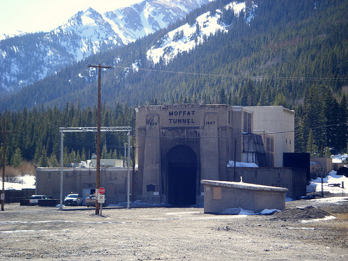 The eastern portal to the 6.2 mile Moffat Tunnel today