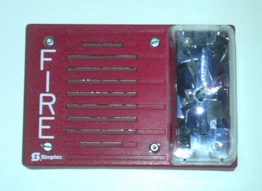 A bright red fire box
