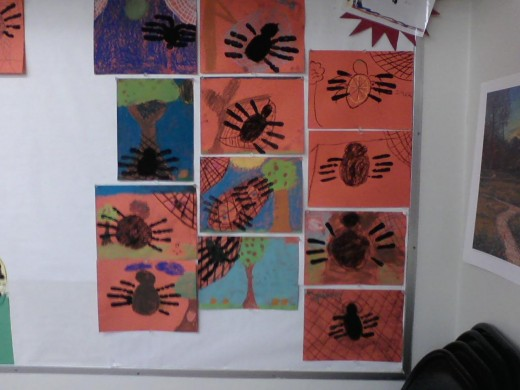 4th grade spiders made with chalk pastels and tempera paint