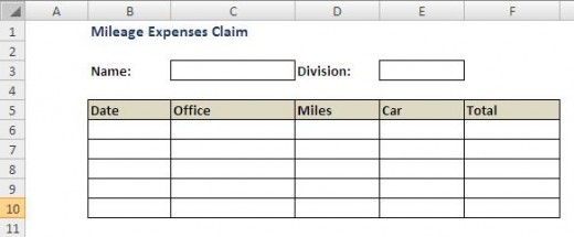 Mileage claim form Excel template