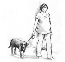 A pregnant woman gaining exercise by walking her dog.