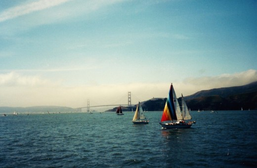 Sailboats and Golden Gate Bridge