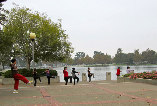 A daily sword class by the lake.