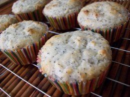 Lemon Poppy Seed Muffins Cooling on a Wire Rack