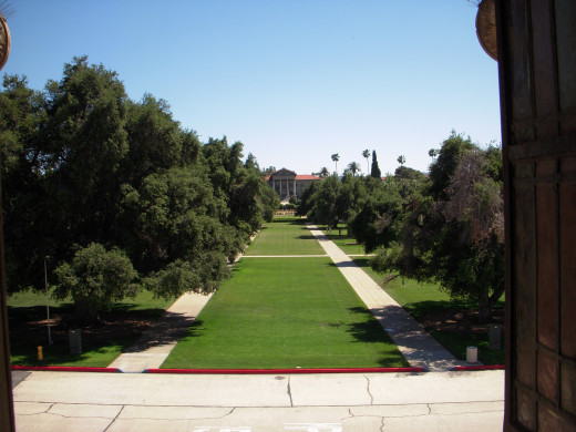 View of the quad from Memorial Chapel, facing the administration building.