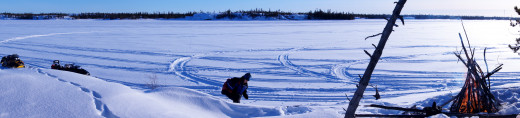 Snowmobiling to Martin Lake, Northwest Territories, Canada for a winter picnic in February.