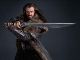 As Thorin Oakenshield , wielding Orcrist