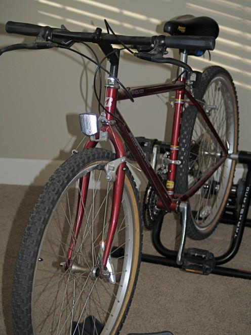 My Bridgestone mountain bike mounted on a Blackburn TrakStand Trainer