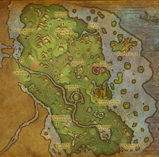 Map of The Jade Forest in World of Warcraft