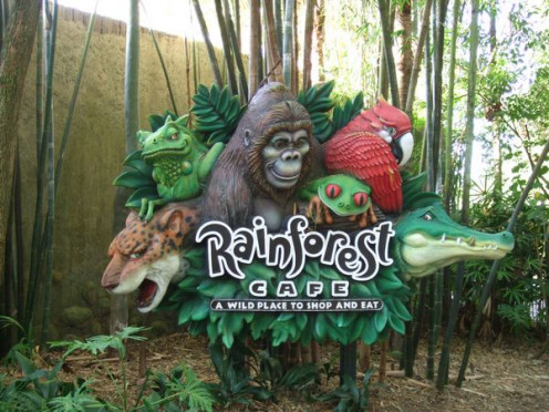 The 'Rainforest Cafe' near the park entrance, where we had breakfast