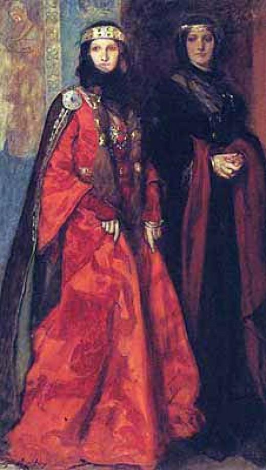 Goneril and Regan, Lear's elder daughters.