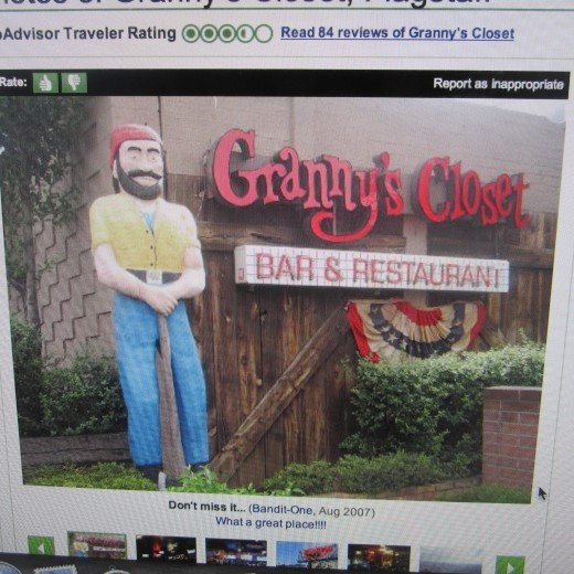 Screenshot of image of Granny's Closet Restaurant, Flagstaff, AZ.