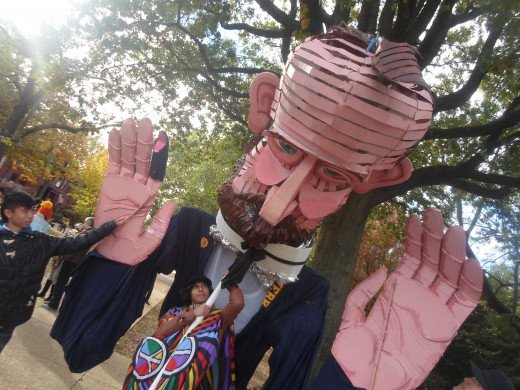 Lincoln Paper meache puppet at Million Puppet march in Washington D.C. Nov. 3rd, 2012