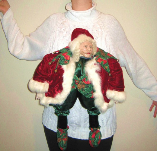 Sweater with Santa Sticking Out of Stomach