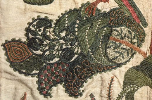 Crewel embroidery leaf from a curtain, circa 1696.