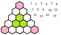 Can you arrange the numbers 1 through 15 in the hexagonal cells shown below