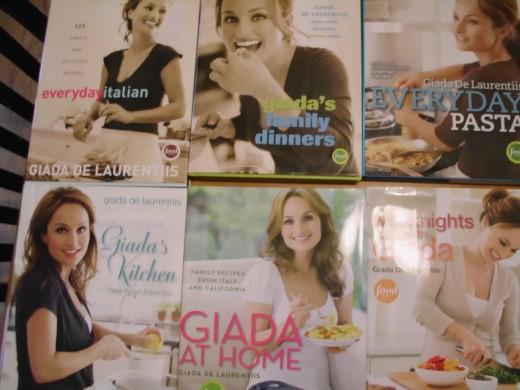 Giada De Laurentiis, the 6 cookbooks I have.