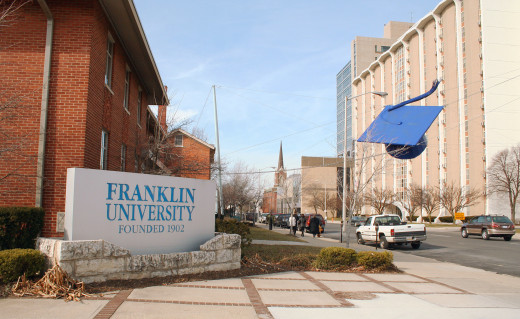 The main corner of Franklin University in Columbus, Ohio, with its landmark giant mortarboard.