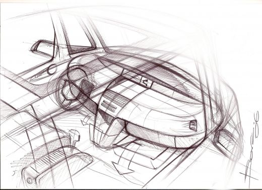 Car Interior Sketch line drawing