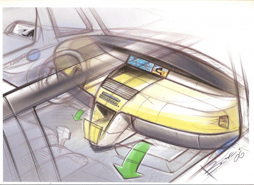 Car Interior Sketch light rendering