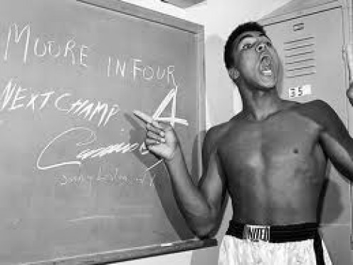 Ali predicting he would knock out the legendary Archie Moore in 4 rounds and amazingly he knocked out Moore in 4 as he put it. Source: Muhammad Ali: His Life and Times by Thomas Hauser