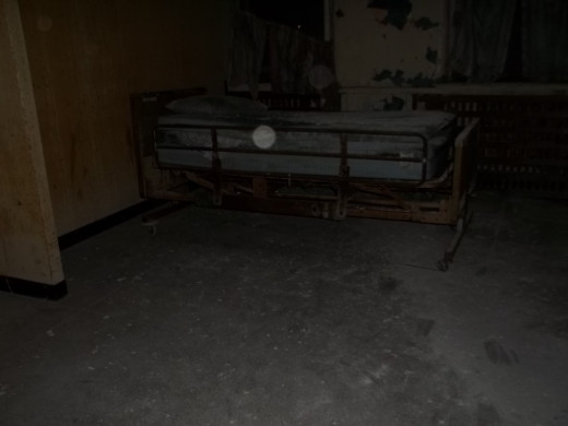 Photo of a patients bed.  My camera captured an orb in this room!