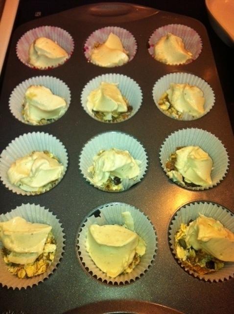 Dollop in each muffin tin