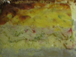 A cross-cut view of this frittata.  You can see the layers of egg and cheeses.