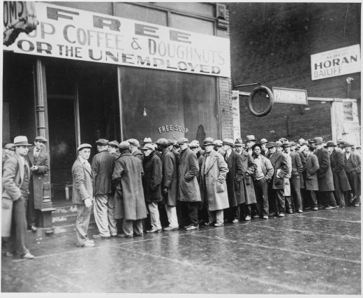 Unemployed men outside a soup kitchen in Chicago, 1931