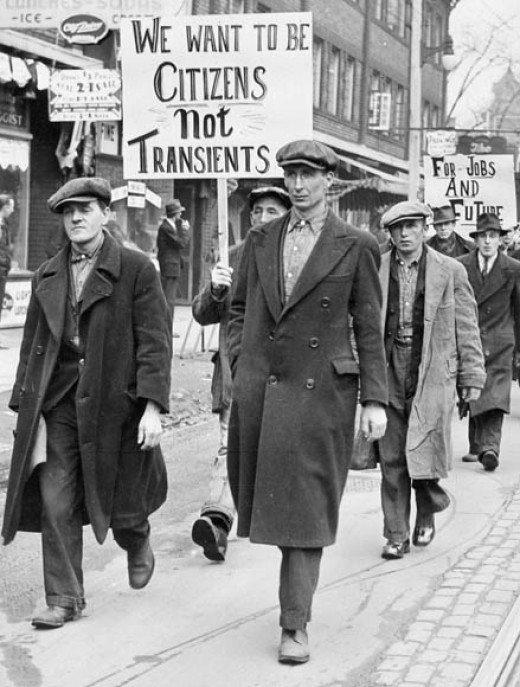 Unemployed men, marching for jobs during the Great Depression in Canada, 1930