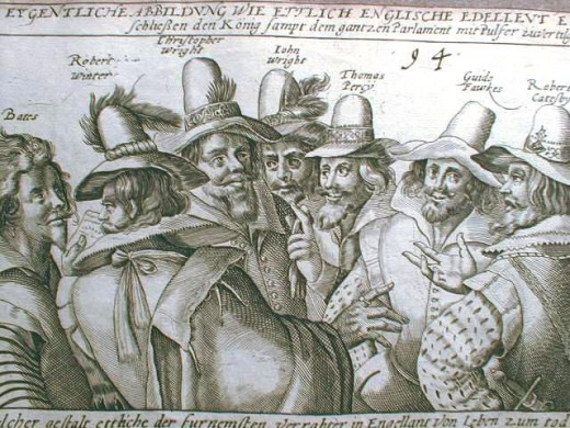 Conspirators of the Gunpowder Plot. Image part of the public domain