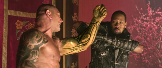 Brass Body (Dave Bautista) battles the man with the iron firsts (RZA).