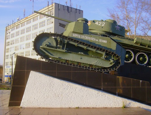 The first Soviet-built tank, an FT named 'Freedom Fighter Lenin', on display with one of its larger descendants.