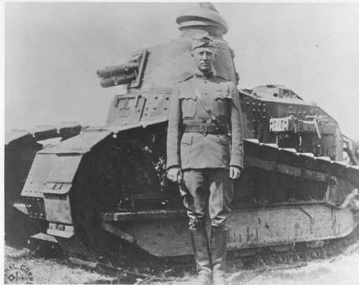 A young Patton with one of the FTs used by American forces in France,