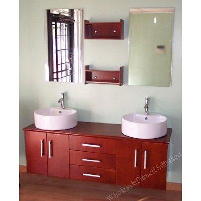 Very contemporary double basin bathroom vanity.  Amazon